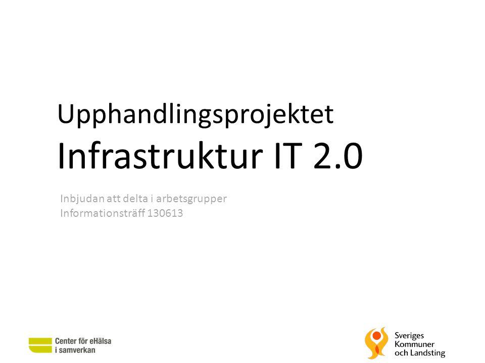 Upphandlingsprojektet Infrastruktur IT 2.0 Inbjudan att delta i arbetsgrupper Informationsträff 130613