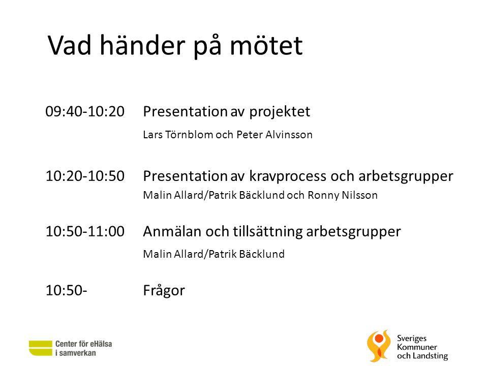 Vad händer på mötet 09:40-10:20Presentation av projektet Lars Törnblom och Peter Alvinsson 10:20-10:50Presentation av kravprocess och arbetsgrupper Ma