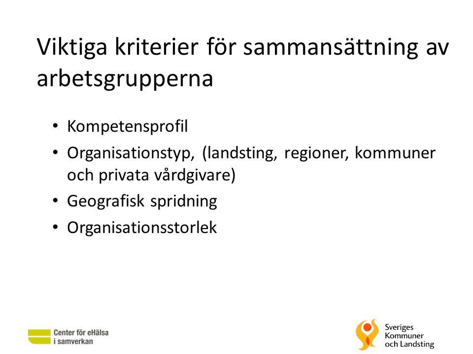 Viktiga kriterier för sammansättning av arbetsgrupperna • Kompetensprofil • Organisationstyp, (landsting, regioner, kommuner och privata vårdgivare) •