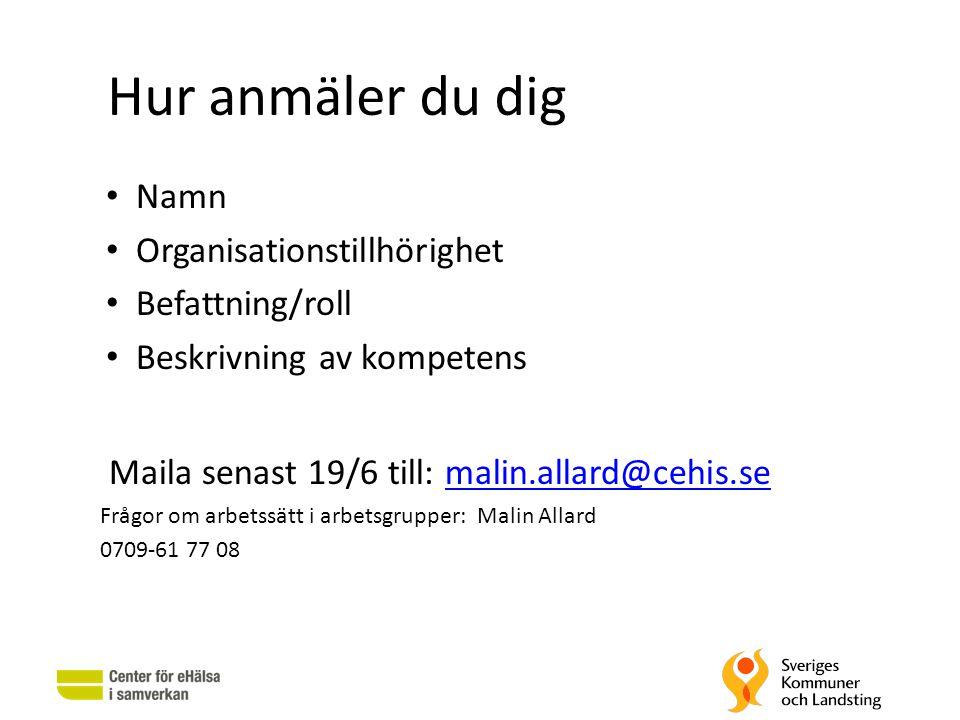 Hur anmäler du dig • Namn • Organisationstillhörighet • Befattning/roll • Beskrivning av kompetens Maila senast 19/6 till: malin.allard@cehis.semalin.
