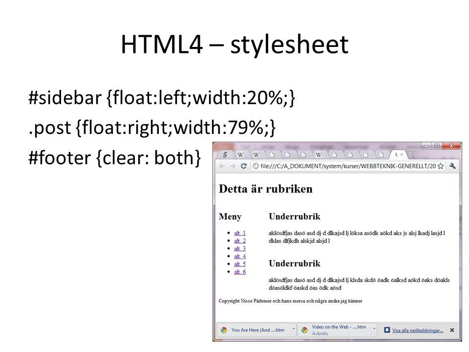 HTML4 – stylesheet #sidebar {float:left;width:20%;}.post {float:right;width:79%;} #footer {clear: both}