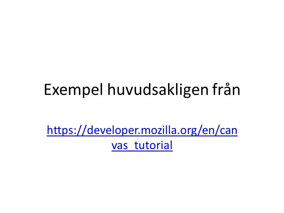 Exempel huvudsakligen från https://developer.mozilla.org/en/can vas_tutorial