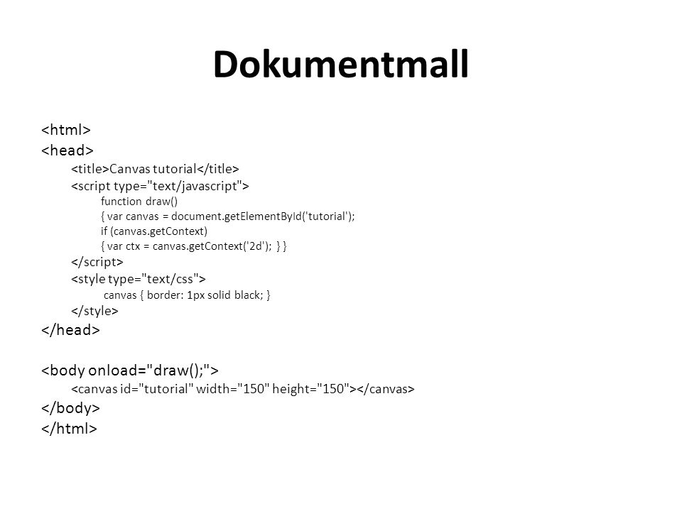 Dokumentmall Canvas tutorial function draw() { var canvas = document.getElementById( tutorial ); if (canvas.getContext) { var ctx = canvas.getContext( 2d ); } } canvas { border: 1px solid black; }