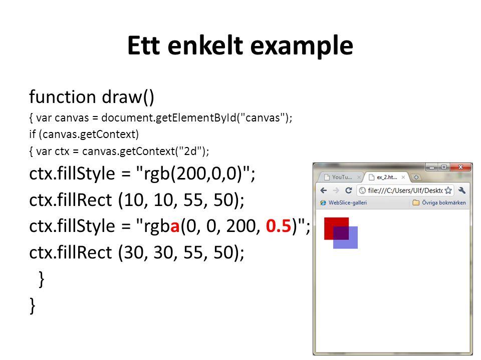 Ett enkelt example function draw() { var canvas = document.getElementById( canvas ); if (canvas.getContext) { var ctx = canvas.getContext( 2d ); ctx.fillStyle = rgb(200,0,0) ; ctx.fillRect (10, 10, 55, 50); ctx.fillStyle = rgba(0, 0, 200, 0.5) ; ctx.fillRect (30, 30, 55, 50); }