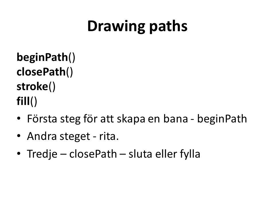 Drawing paths beginPath() closePath() stroke() fill() • Första steg för att skapa en bana - beginPath • Andra steget - rita.