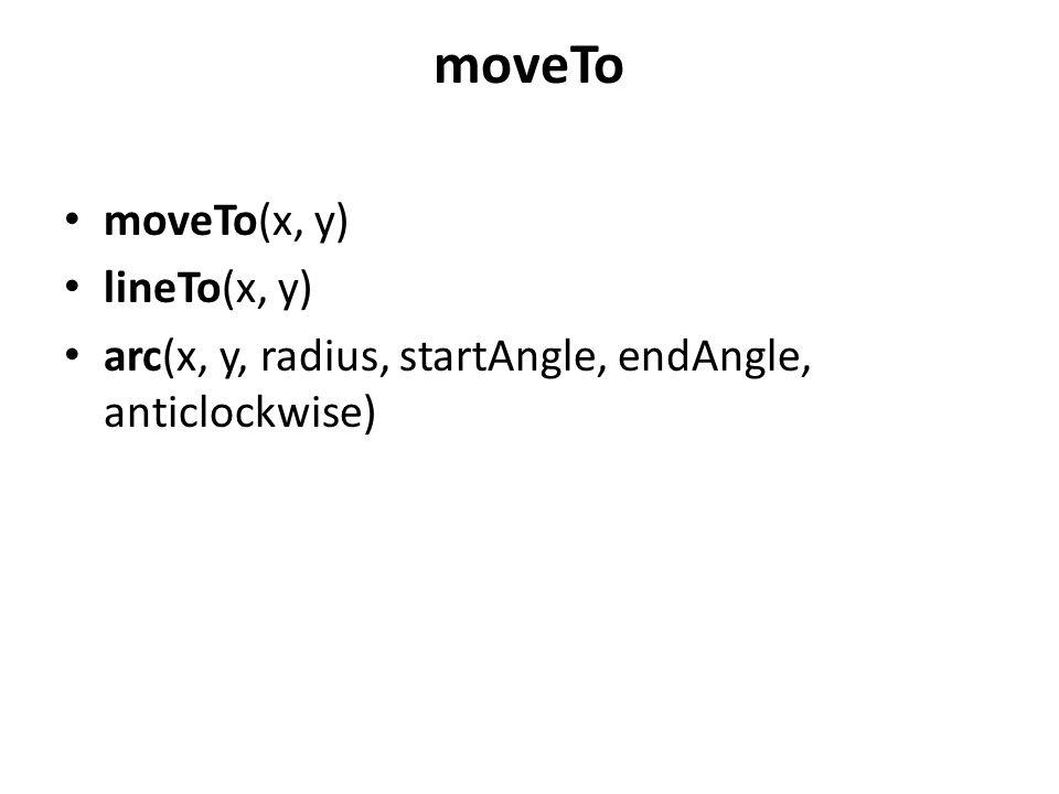 moveTo • moveTo(x, y) • lineTo(x, y) • arc(x, y, radius, startAngle, endAngle, anticlockwise)