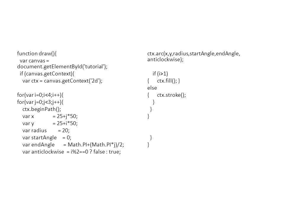 function draw(){ var canvas = document.getElementById( tutorial ); if (canvas.getContext){ var ctx = canvas.getContext( 2d ); for(var i=0;i<4;i++){ for(var j=0;j<3;j++){ ctx.beginPath(); var x = 25+j*50; var y = 25+i*50; var radius = 20; var startAngle = 0; var endAngle = Math.PI+(Math.PI*j)/2; var anticlockwise = i%2==0 .