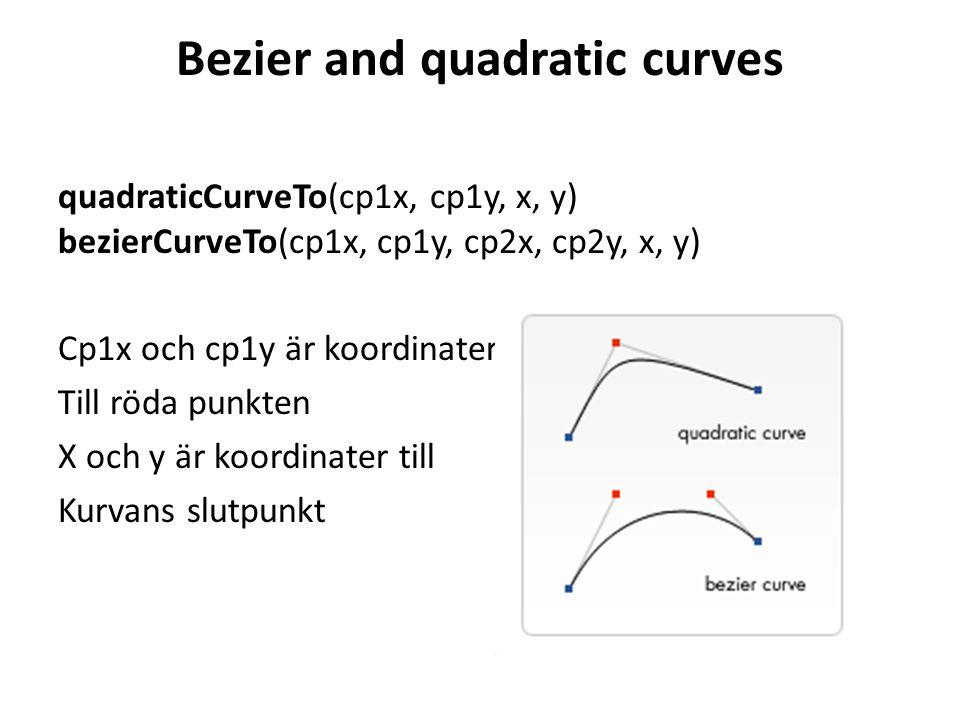 Bezier and quadratic curves quadraticCurveTo(cp1x, cp1y, x, y) bezierCurveTo(cp1x, cp1y, cp2x, cp2y, x, y) Cp1x och cp1y är koordinater Till röda punkten X och y är koordinater till Kurvans slutpunkt