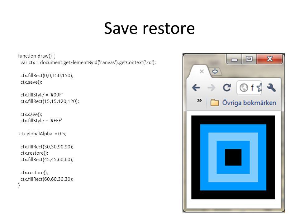 Save restore function draw() { var ctx = document.getElementById( canvas ).getContext( 2d ); ctx.fillRect(0,0,150,150); ctx.save(); ctx.fillStyle = #09F ctx.fillRect(15,15,120,120); ctx.save(); ctx.fillStyle = #FFF ctx.globalAlpha = 0.5; ctx.fillRect(30,30,90,90); ctx.restore(); ctx.fillRect(45,45,60,60); ctx.restore(); ctx.fillRect(60,60,30,30); }