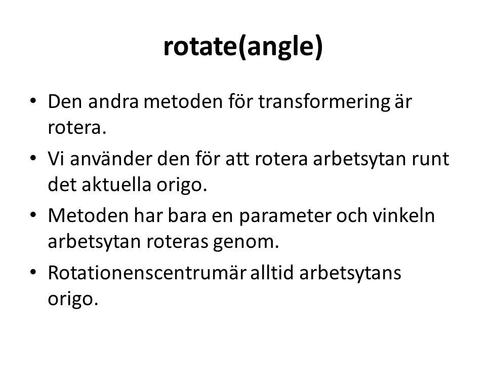 rotate(angle) • Den andra metoden för transformering är rotera.