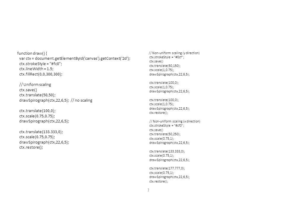 function draw() { var ctx = document.getElementById( canvas ).getContext( 2d ); ctx.strokeStyle = #fc0 ; ctx.lineWidth = 1.5; ctx.fillRect(0,0,300,300); // Uniform scaling ctx.save() ctx.translate(50,50); drawSpirograph(ctx,22,6,5); // no scaling ctx.translate(100,0); ctx.scale(0.75,0.75); drawSpirograph(ctx,22,6,5); ctx.translate(133.333,0); ctx.scale(0.75,0.75); drawSpirograph(ctx,22,6,5); ctx.restore(); // Non-uniform scaling (y direction) ctx.strokeStyle = #0cf ; ctx.save() ctx.translate(50,150); ctx.scale(1,0.75); drawSpirograph(ctx,22,6,5); ctx.translate(100,0); ctx.scale(1,0.75); drawSpirograph(ctx,22,6,5); ctx.translate(100,0); ctx.scale(1,0.75); drawSpirograph(ctx,22,6,5); ctx.restore(); // Non-uniform scaling (x direction) ctx.strokeStyle = #cf0 ; ctx.save() ctx.translate(50,250); ctx.scale(0.75,1); drawSpirograph(ctx,22,6,5); ctx.translate(133.333,0); ctx.scale(0.75,1); drawSpirograph(ctx,22,6,5); ctx.translate(177.777,0); ctx.scale(0.75,1); drawSpirograph(ctx,22,6,5); ctx.restore(); }