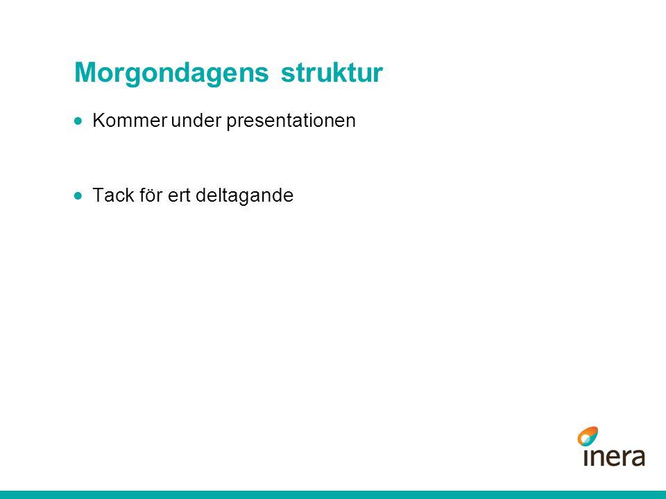 Morgondagens struktur  Kommer under presentationen  Tack för ert deltagande