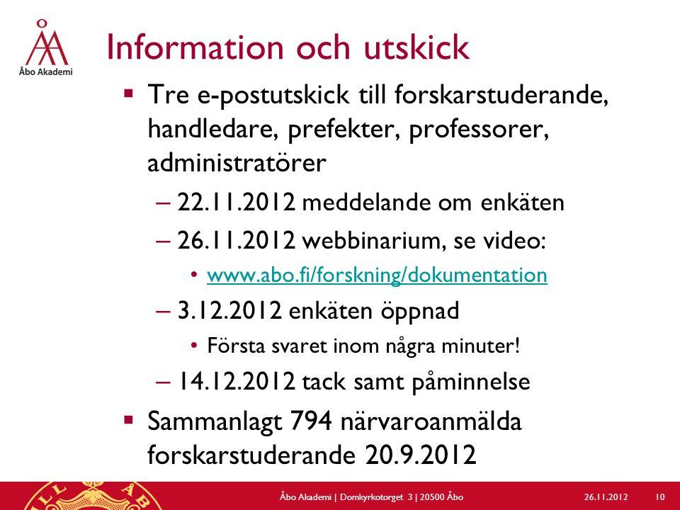 Information och utskick  Tre e-postutskick till forskarstuderande, handledare, prefekter, professorer, administratörer – 22.11.2012 meddelande om enk