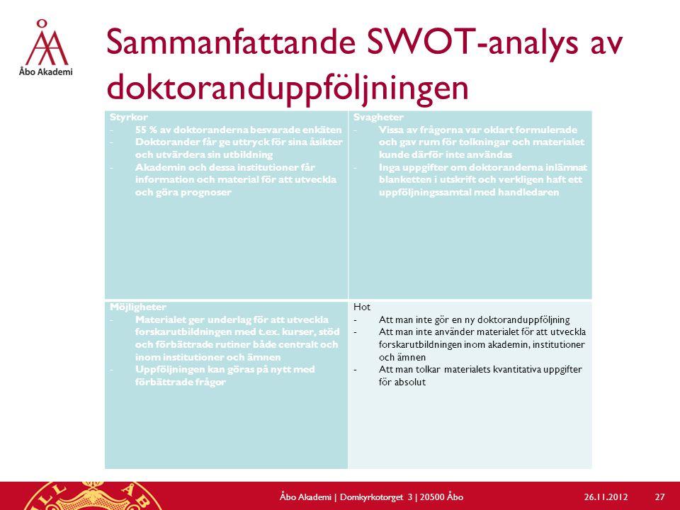 Sammanfattande SWOT-analys av doktoranduppföljningen 26.11.2012Åbo Akademi | Domkyrkotorget 3 | 20500 Åbo 27 Styrkor -55 % av doktoranderna besvarade