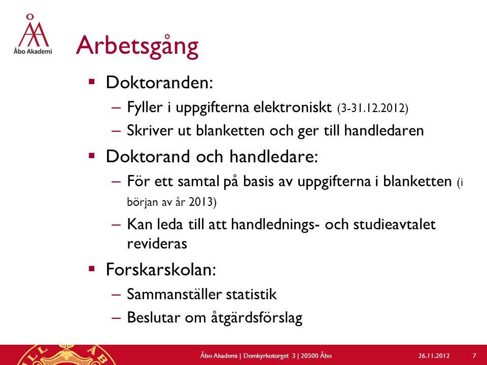 Arbetsgång  Doktoranden: – Fyller i uppgifterna elektroniskt (3-31.12.2012) – Skriver ut blanketten och ger till handledaren  Doktorand och handleda