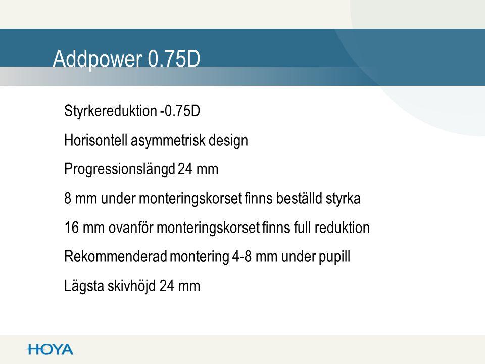 Styrkereduktion -0.75D Horisontell asymmetrisk design Progressionslängd 24 mm 8 mm under monteringskorset finns beställd styrka 16 mm ovanför monteringskorset finns full reduktion Rekommenderad montering 4-8 mm under pupill Lägsta skivhöjd 24 mm Addpower 0.75D