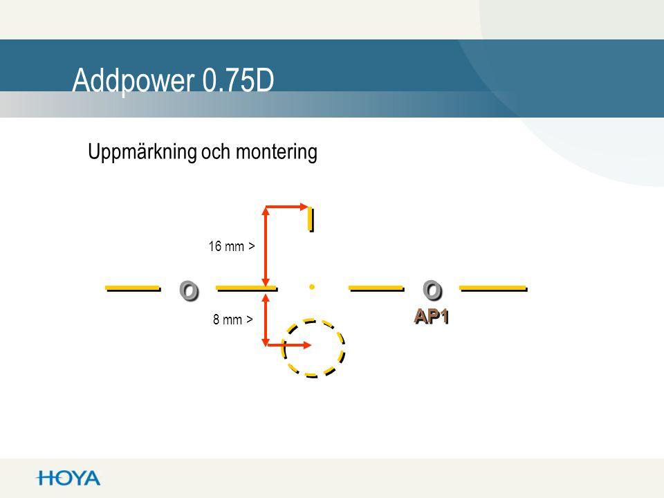 oo oo. 8 mm > 16 mm > AP1 Addpower 0.75D Uppmärkning och montering