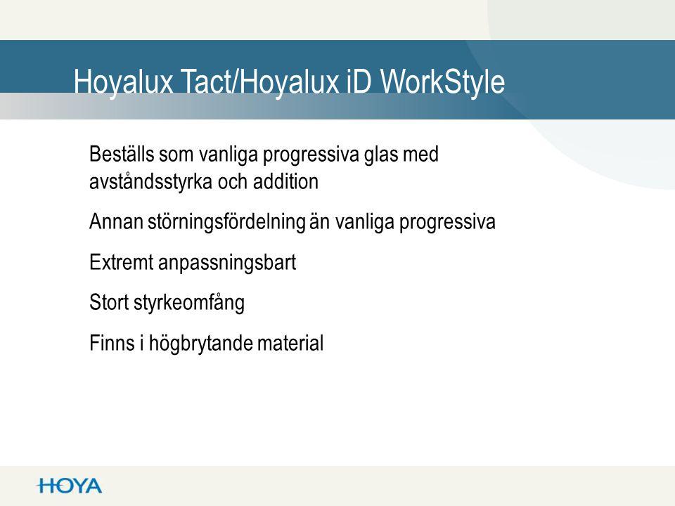 Hoyalux Tact/Hoyalux iD WorkStyle Beställs som vanliga progressiva glas med avståndsstyrka och addition Annan störningsfördelning än vanliga progressi