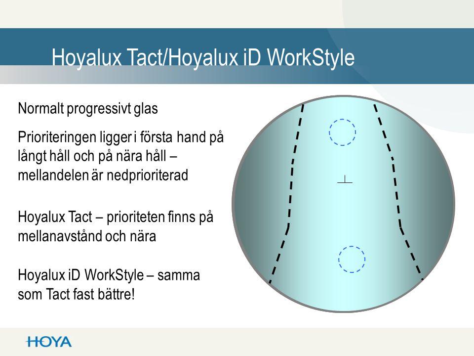Hoyalux Tact/Hoyalux iD WorkStyle Normalt progressivt glas Prioriteringen ligger i första hand på långt håll och på nära håll – mellandelen är nedprioriterad Hoyalux Tact – prioriteten finns på mellanavstånd och nära Hoyalux iD WorkStyle – samma som Tact fast bättre!
