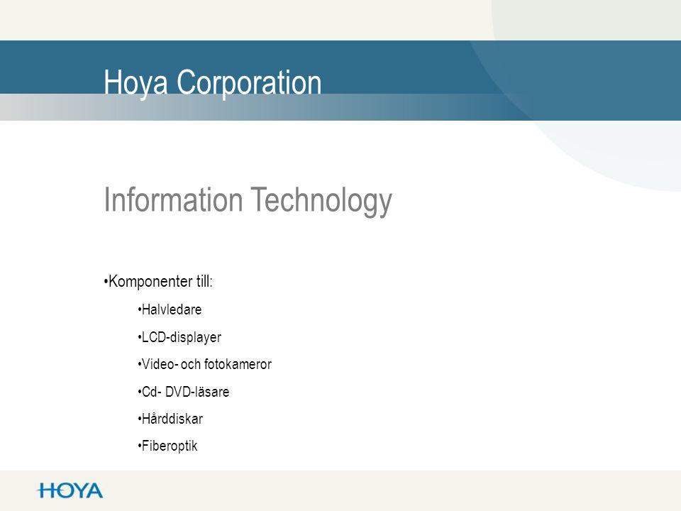 Hoya Corporation Eye Care •Glasögonlinser •Glasögonbågar •Kontaktlinser •IOL-linser
