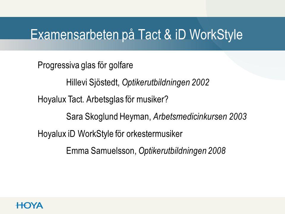 Examensarbeten på Tact & iD WorkStyle Progressiva glas för golfare Hillevi Sjöstedt, Optikerutbildningen 2002 Hoyalux Tact. Arbetsglas för musiker? Sa
