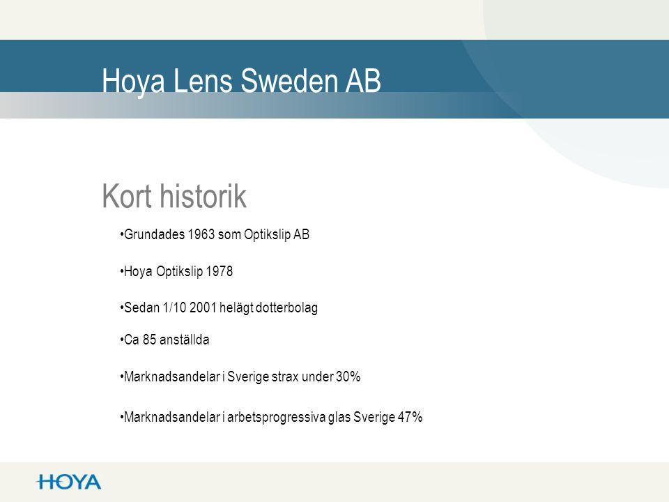 Hoya Lens Sweden AB Kort historik •Grundades 1963 som Optikslip AB •Sedan 1/10 2001 helägt dotterbolag •Marknadsandelar i Sverige strax under 30% •Ca 85 anställda •Hoya Optikslip 1978 •Marknadsandelar i arbetsprogressiva glas Sverige 47%