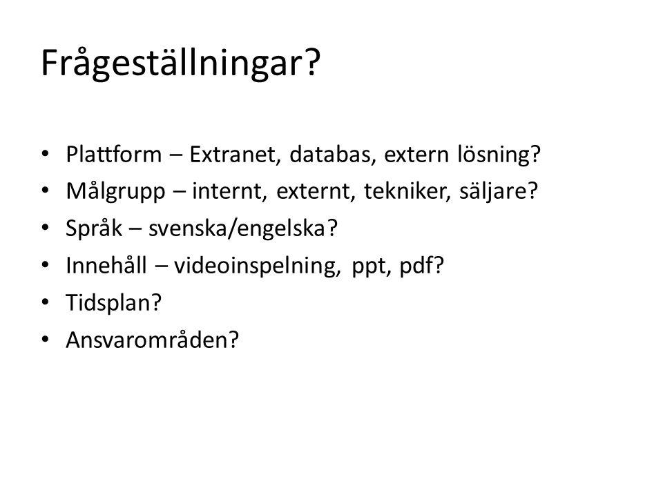 Frågeställningar? • Plattform – Extranet, databas, extern lösning? • Målgrupp – internt, externt, tekniker, säljare? • Språk – svenska/engelska? • Inn