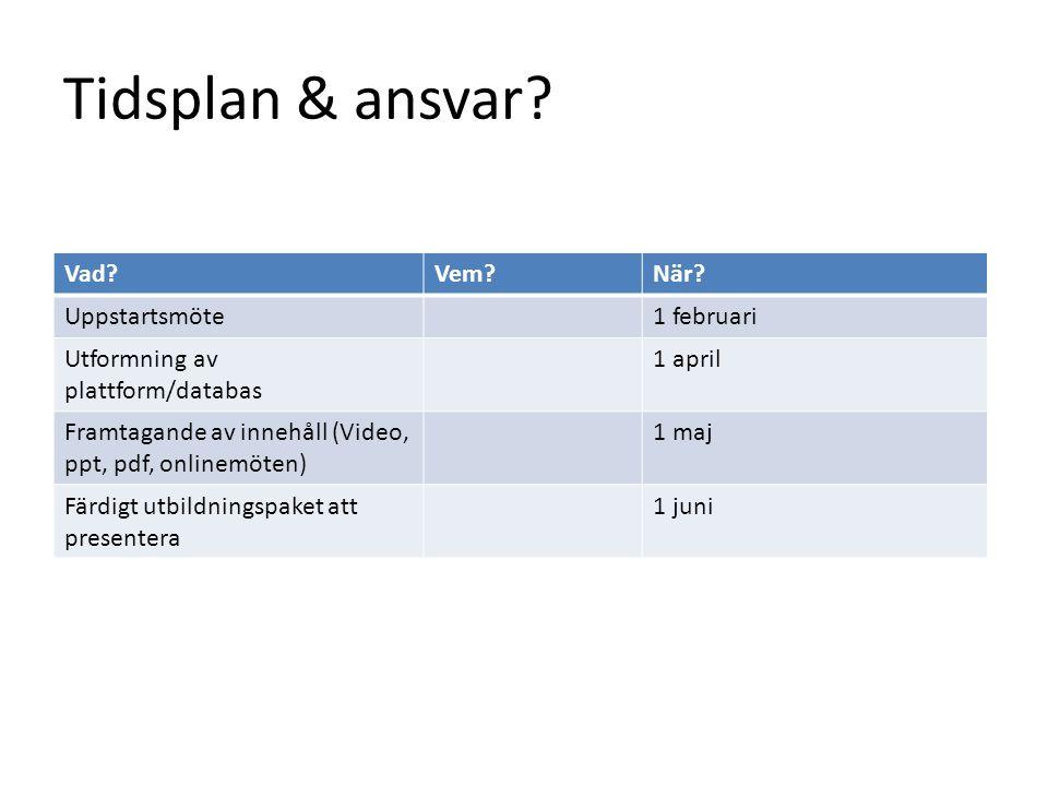 Tidsplan & ansvar? Vad?Vem?När? Uppstartsmöte1 februari Utformning av plattform/databas 1 april Framtagande av innehåll (Video, ppt, pdf, onlinemöten)