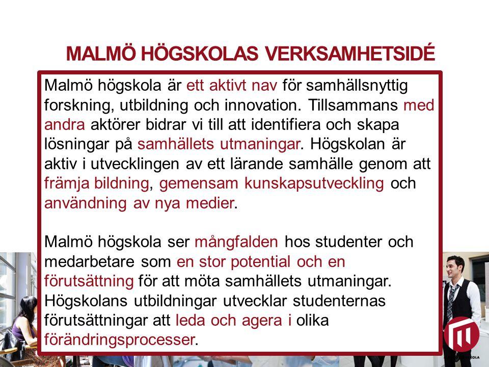 2010 05 04 MALMÖ HÖGSKOLAS VERKSAMHETSIDÉ Utbildning och forskning för hållbar samhällsutveckling Malmö högskola är ett aktivt nav för samhällsnyttig forskning, utbildning och innovation.