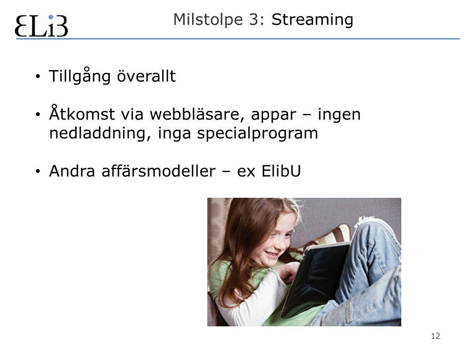 12 Milstolpe 3: Streaming • Tillgång överallt • Åtkomst via webbläsare, appar – ingen nedladdning, inga specialprogram • Andra affärsmodeller – ex ElibU