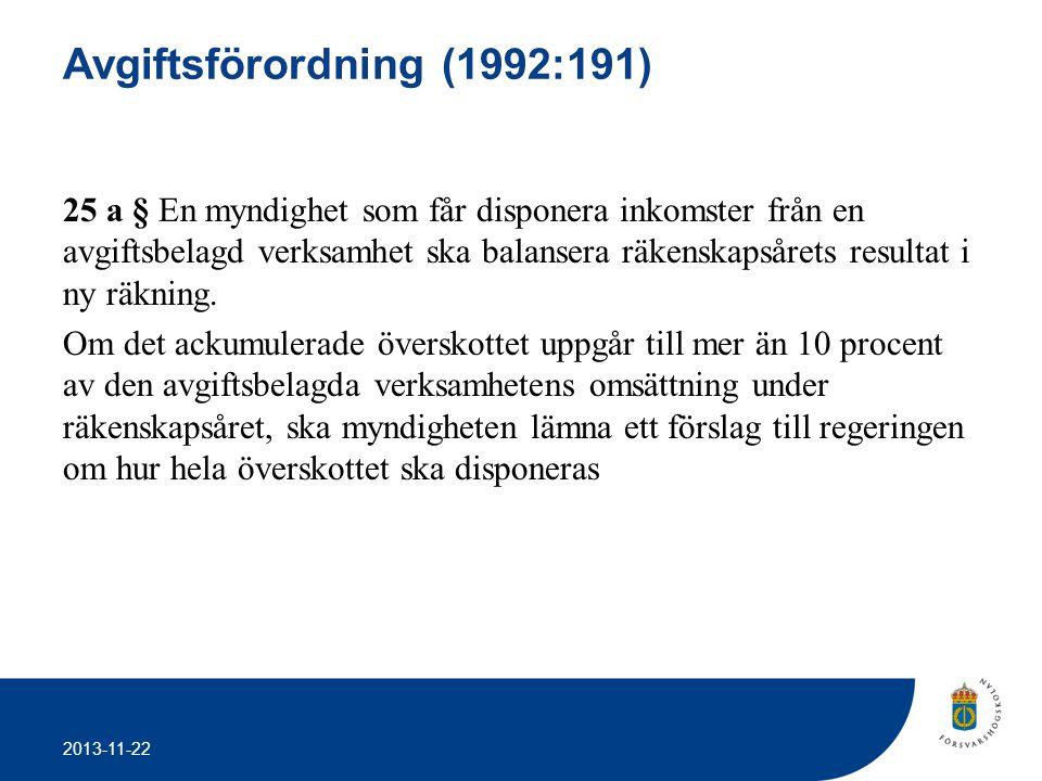 2013-11-22 Avgiftsförordning (1992:191) 25 a § En myndighet som får disponera inkomster från en avgiftsbelagd verksamhet ska balansera räkenskapsårets