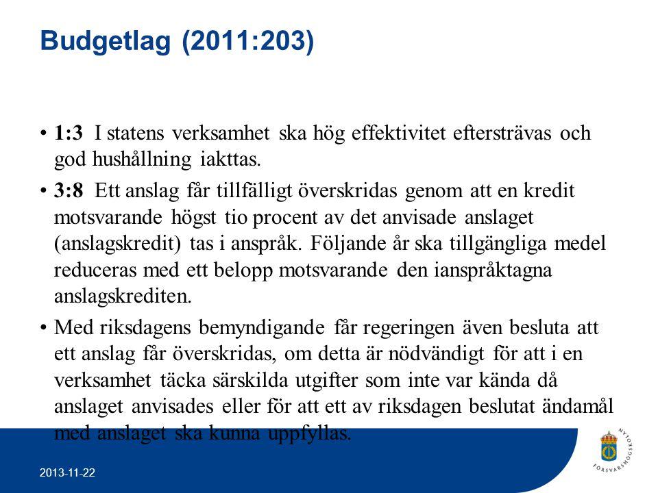 2013-11-22 Budgetlag (2011:203) •1:3 I statens verksamhet ska hög effektivitet eftersträvas och god hushållning iakttas. •3:8 Ett anslag får tillfälli