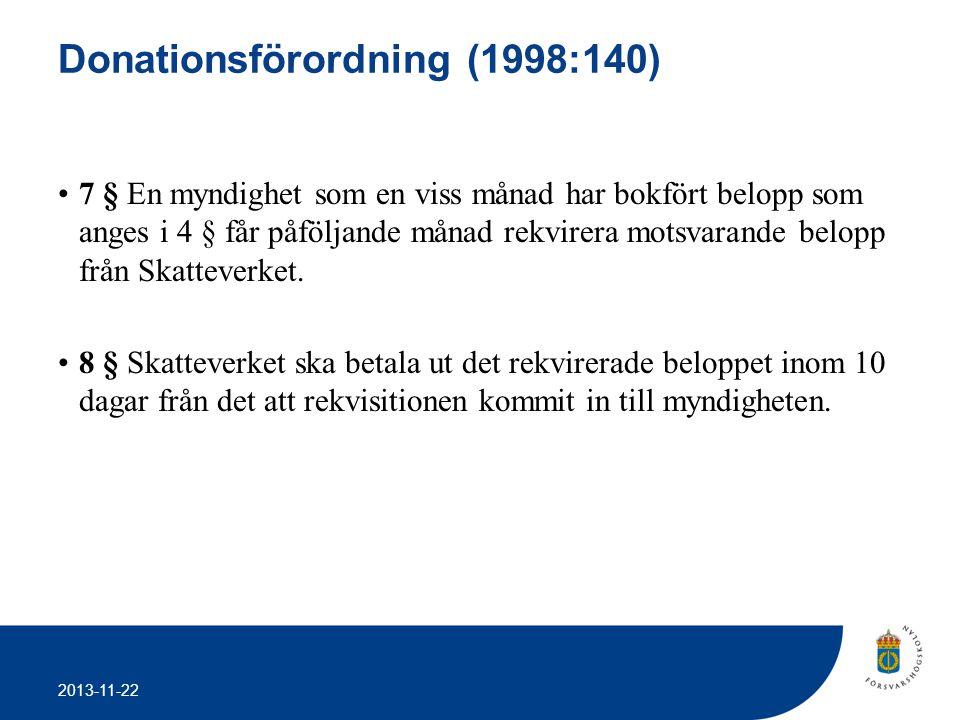 2013-11-22 Donationsförordning (1998:140) •7 § En myndighet som en viss månad har bokfört belopp som anges i 4 § får påföljande månad rekvirera motsva