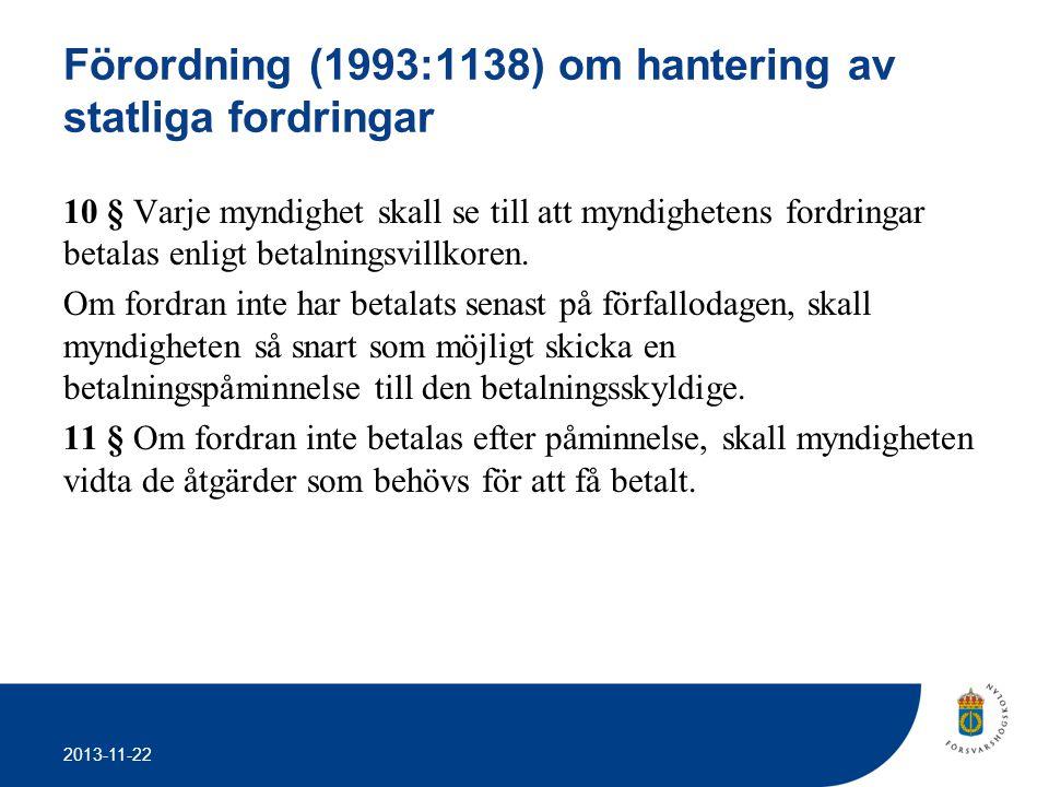 2013-11-22 Förordning (1993:1138) om hantering av statliga fordringar 10 § Varje myndighet skall se till att myndighetens fordringar betalas enligt be