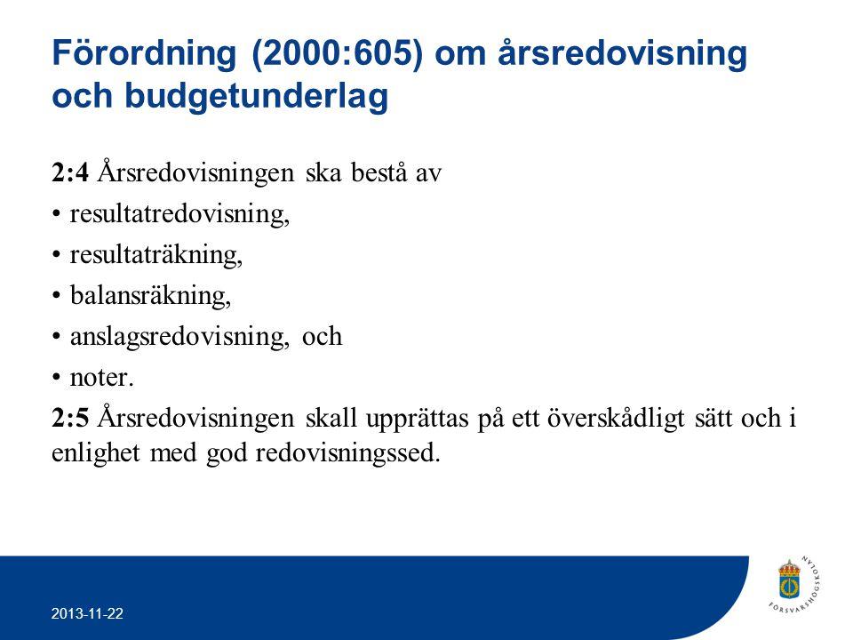 2013-11-22 Förordning (2000:605) om årsredovisning och budgetunderlag 2:4 Årsredovisningen ska bestå av •resultatredovisning, •resultaträkning, •balan