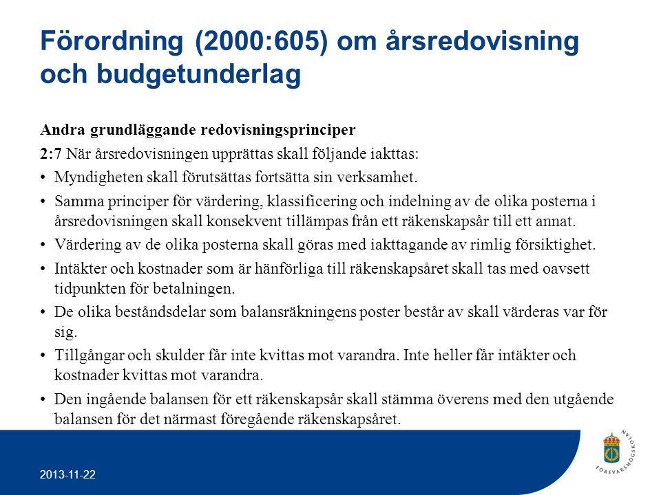 2013-11-22 Förordning (2000:605) om årsredovisning och budgetunderlag Andra grundläggande redovisningsprinciper 2:7 När årsredovisningen upprättas ska
