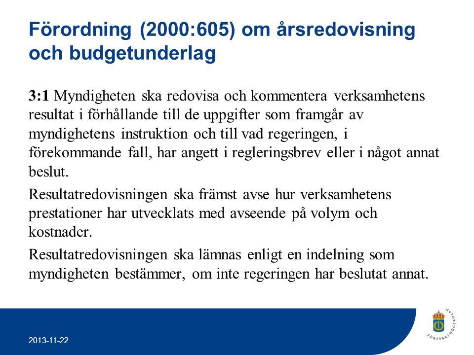 2013-11-22 Förordning (2000:605) om årsredovisning och budgetunderlag 3:1 Myndigheten ska redovisa och kommentera verksamhetens resultat i förhållande