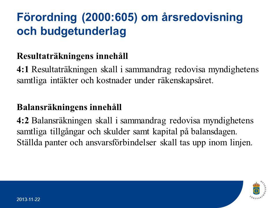 2013-11-22 Förordning (2000:605) om årsredovisning och budgetunderlag Resultaträkningens innehåll 4:1 Resultaträkningen skall i sammandrag redovisa my