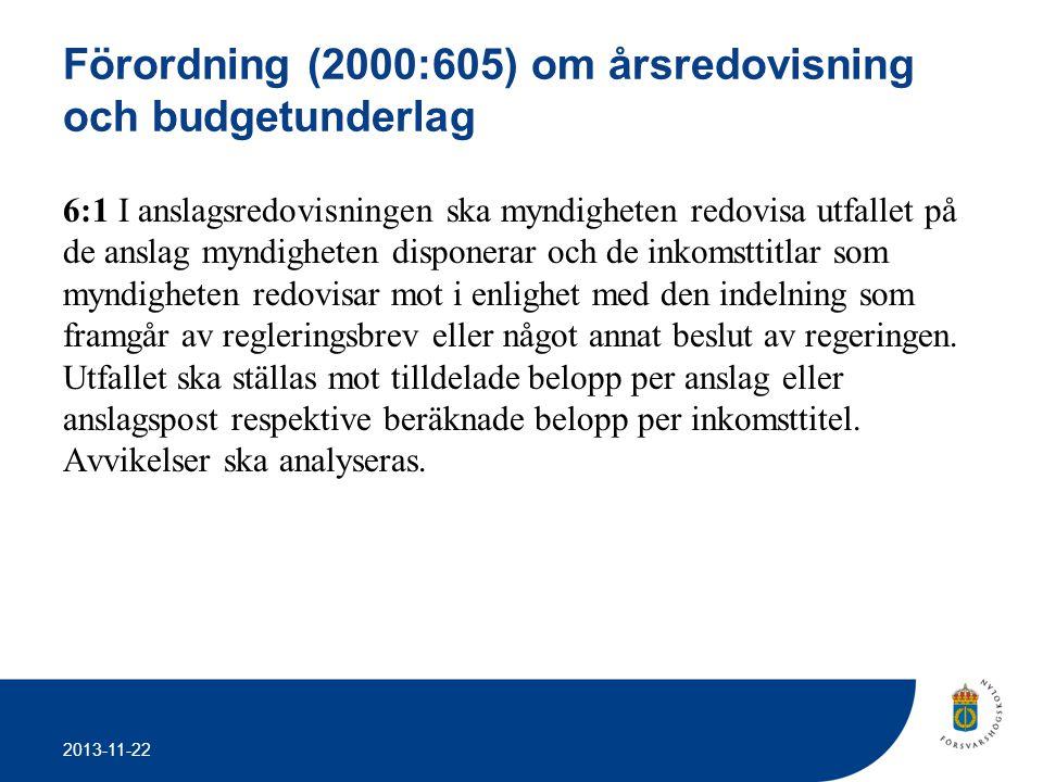 2013-11-22 Förordning (2000:605) om årsredovisning och budgetunderlag 6:1 I anslagsredovisningen ska myndigheten redovisa utfallet på de anslag myndig