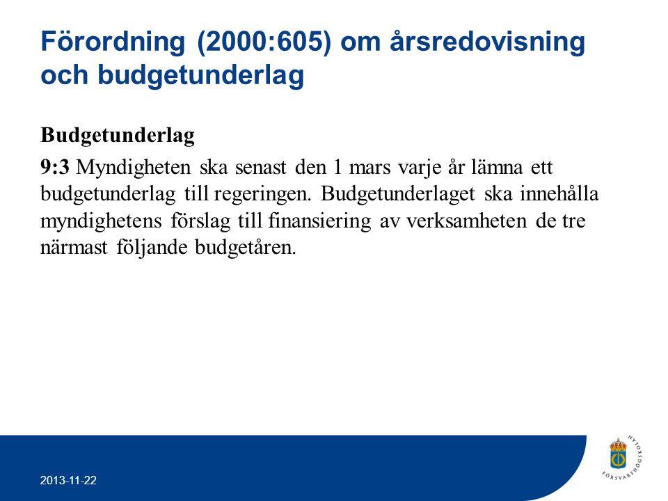 2013-11-22 Förordning (2000:605) om årsredovisning och budgetunderlag Budgetunderlag 9:3 Myndigheten ska senast den 1 mars varje år lämna ett budgetun
