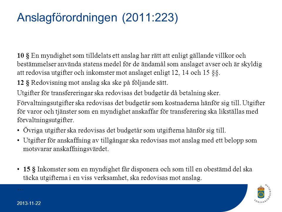 2013-11-22 Anslagförordningen (2011:223) 10 § En myndighet som tilldelats ett anslag har rätt att enligt gällande villkor och bestämmelser använda sta