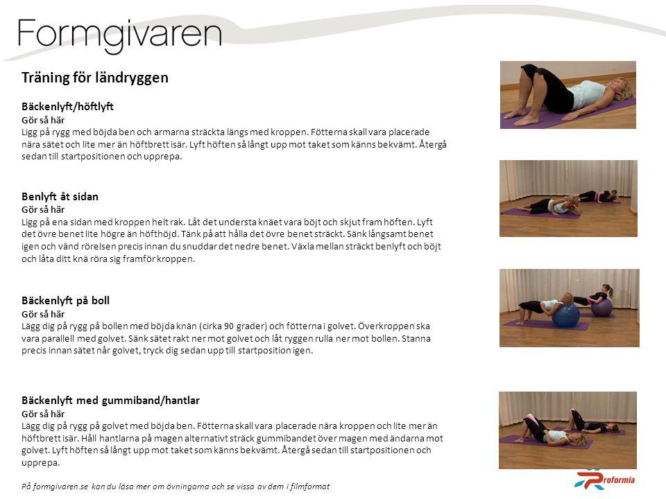 Träning för ländryggen Bäckenlyft/höftlyft Gör så här Ligg på rygg med böjda ben och armarna sträckta längs med kroppen. Fötterna skall vara placerade