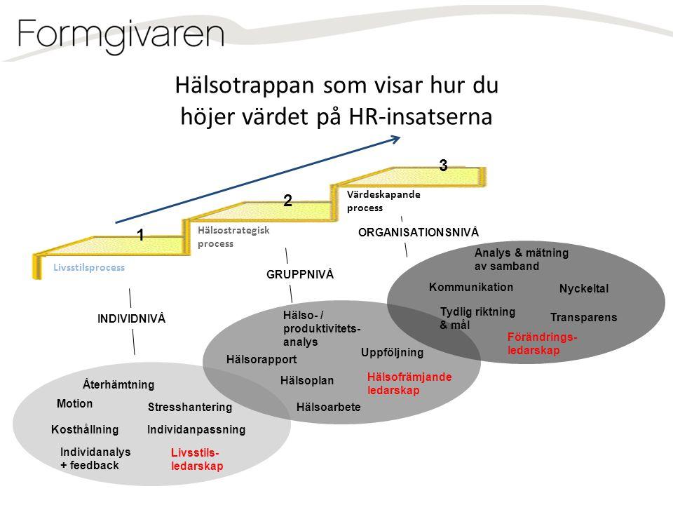 Livsstilsprocess Hälsostrategisk process Värdeskapande process Återhämtning Stresshantering Motion Individanalys + feedback IndividanpassningKosthålln