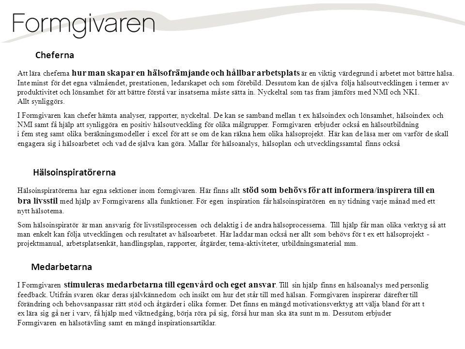 Livsstil Arbetsmiljö Lilla Hälsoanalysen Resultat Feedback Lästips Prometern 25% 40% 35% Produktivitet Hälsa NMI Hälso- index Lönsamhet Verklig närvaro .