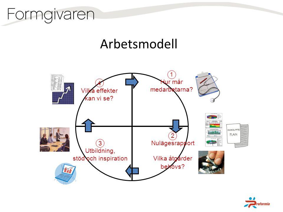1 Hur mår medarbetarna? 4 Vilka effekter kan vi se? 2 Nulägesrapport Vilka åtgärder behövs? Arbetsmodell 3 Utbildning, stöd och inspiration