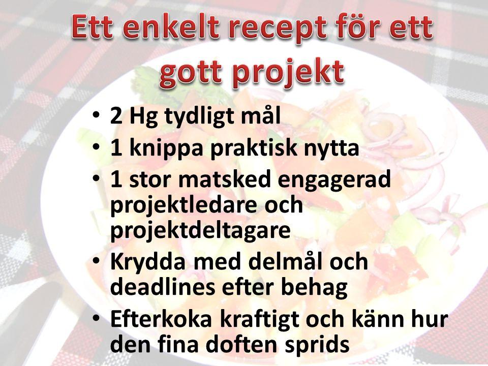 • 2 Hg tydligt mål • 1 knippa praktisk nytta • 1 stor matsked engagerad projektledare och projektdeltagare • Krydda med delmål och deadlines efter behag • Efterkoka kraftigt och känn hur den fina doften sprids