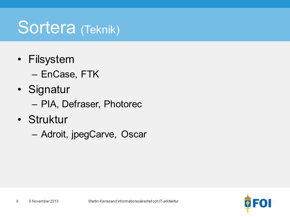 Sortera (Teknik) •Filsystem –EnCase, FTK •Signatur –PIA, Defraser, Photorec •Struktur –Adroit, jpegCarve, Oscar 5 November 2013 Martin Karresand Infor