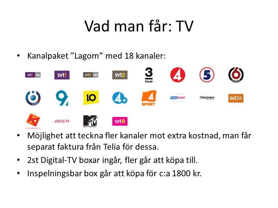"""Vad man får: TV • Kanalpaket """"Lagom"""" med 18 kanaler: • Möjlighet att teckna fler kanaler mot extra kostnad, man får separat faktura från Telia för des"""