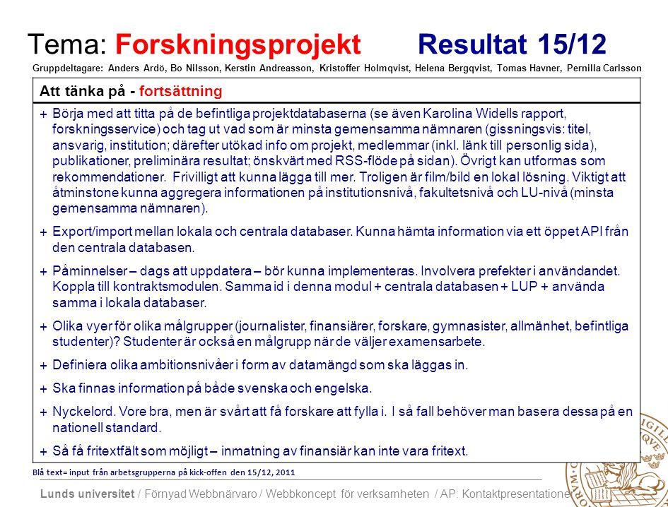 Lunds universitet / Förnyad Webbnärvaro / Webbkoncept för verksamheten / AP: Kontaktpresentationer Tema: Forskningsprojekt Resultat 15/12 Att tänka på - fortsättning +Börja med att titta på de befintliga projektdatabaserna (se även Karolina Widells rapport, forskningsservice) och tag ut vad som är minsta gemensamma nämnaren (gissningsvis: titel, ansvarig, institution; därefter utökad info om projekt, medlemmar (inkl.