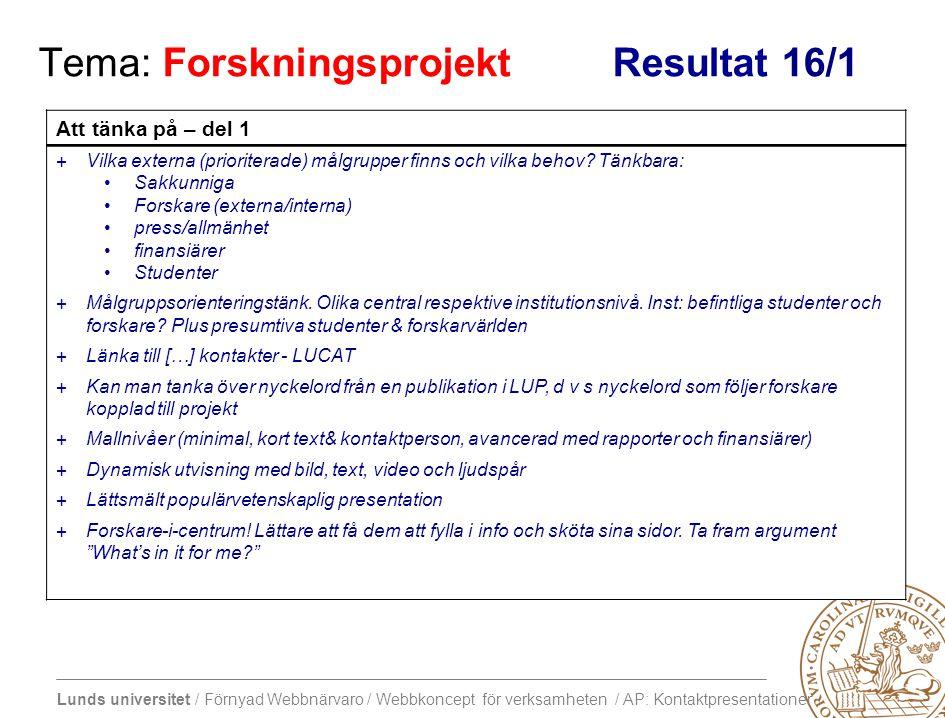 Lunds universitet / Förnyad Webbnärvaro / Webbkoncept för verksamheten / AP: Kontaktpresentationer Tema: Forskningsprojekt Resultat 16/1 Att tänka på – del 1 +Vilka externa (prioriterade) målgrupper finns och vilka behov.